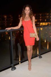 Brooke Burke in red on her way to dinner in Santa Monica