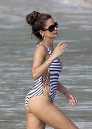 Brooke Burke in Swimsuit on the beach in St. Barths
