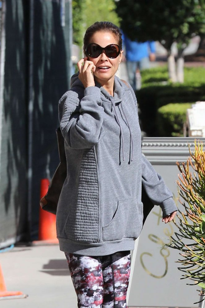 Brooke Burke in Tights heads to the salon in West Hollywood