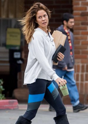 Brooke Burke in Tights on New Years Eve Day in Malibu
