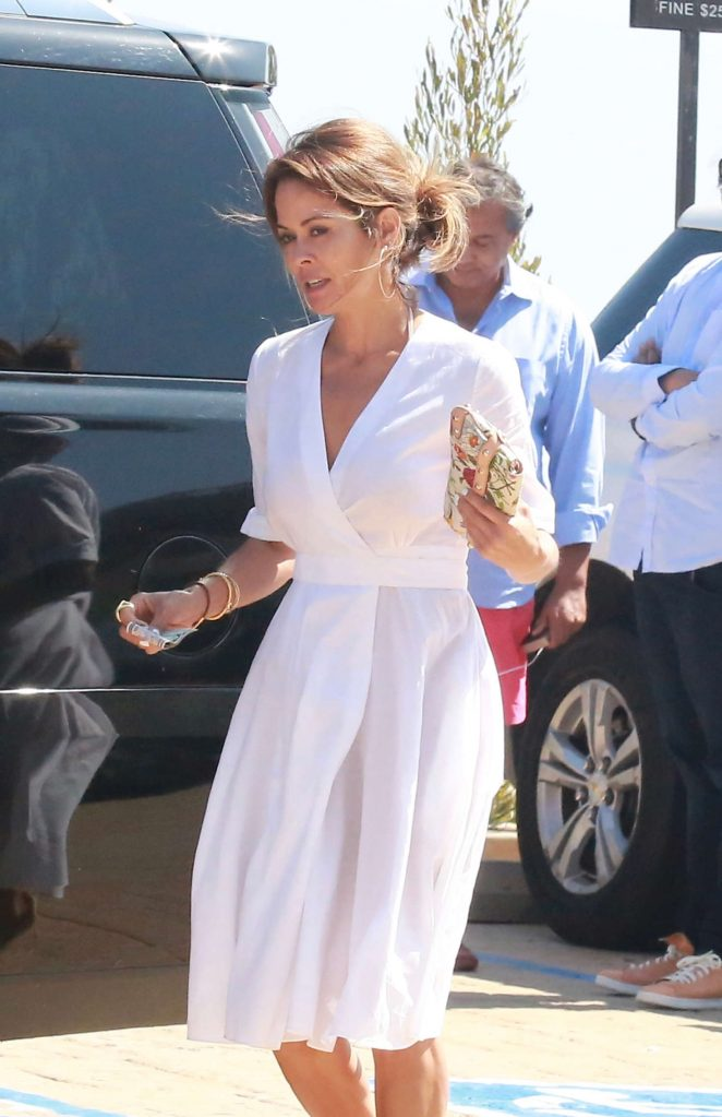 Brooke Burke in White Dress out in Malibu