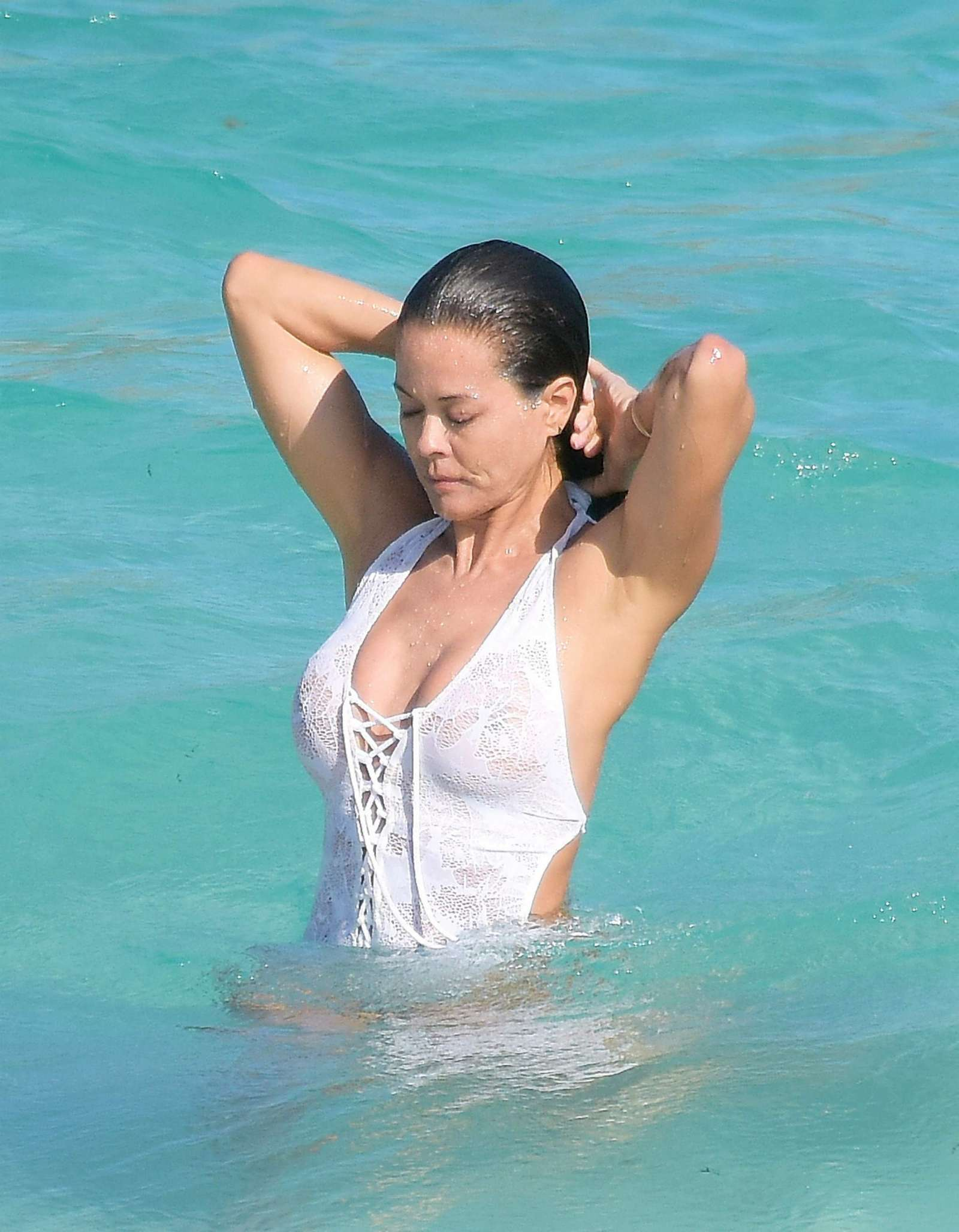 Brooke Burke in White Swimsuit -01