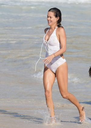 Brooke Burke In White Swimsuit On The Beach Of St Barths