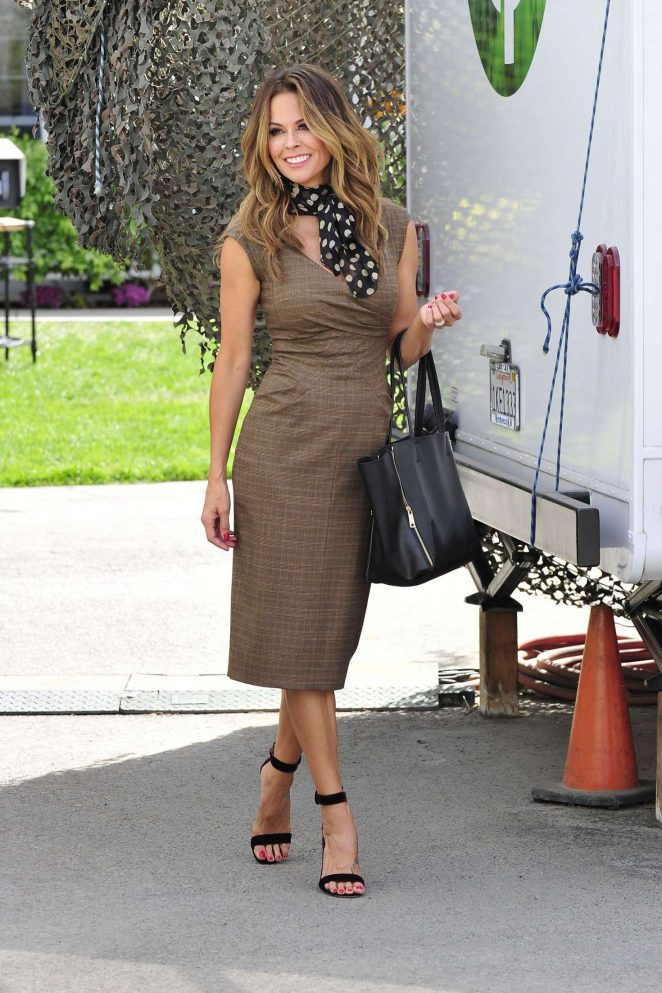 Brooke Burke on a commercial set in Los Angeles