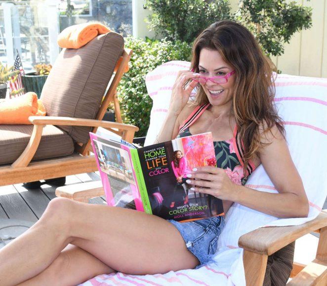 Brooke Burke - Reading and Getting her Hair Done in Malibu