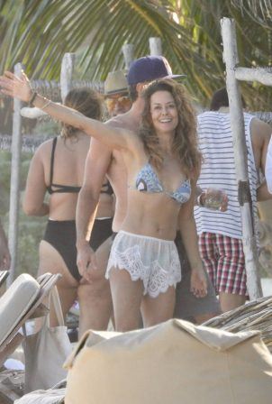 Brooke Burke - Spotted in a bikini on the beach in Tulum
