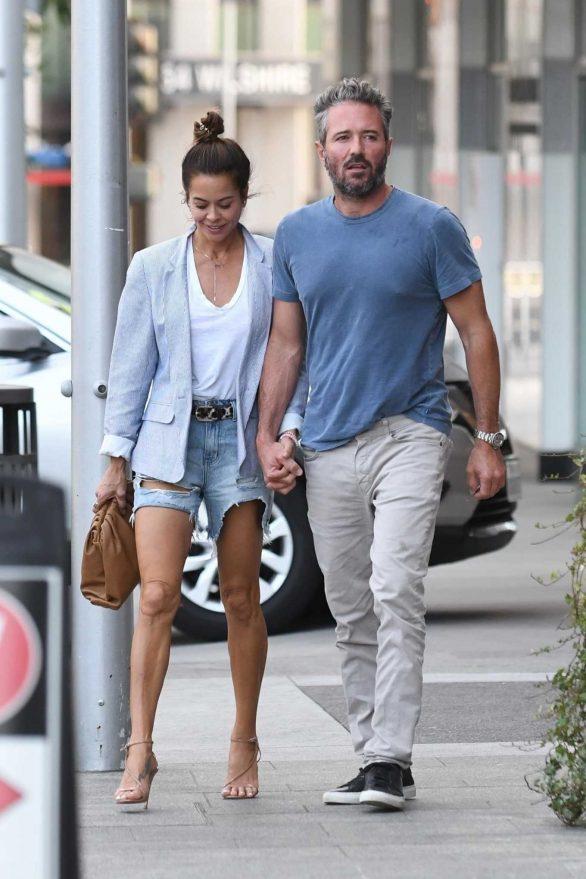 Brooke Burke - Wearing denim shorts at Avra in Beverly Hills