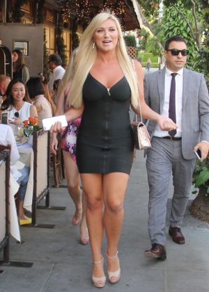 Brooke Hogan in Black Mini Dress out in Beverly Hills