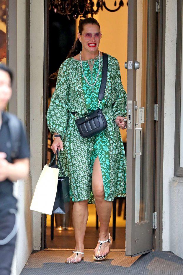 Brooke Shields in Green Dress-01