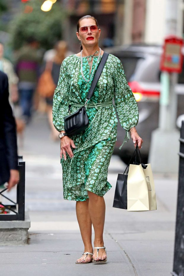 Brooke Shields in Green Dress-05