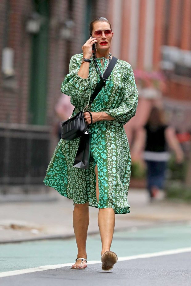 Brooke Shields in Green Dress-08