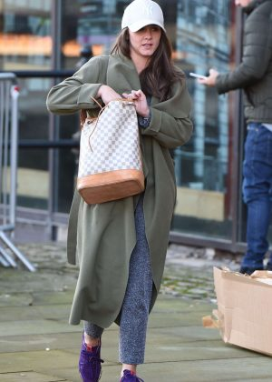 Brooke Vincent in Long Coat at Key Radio in Manchester