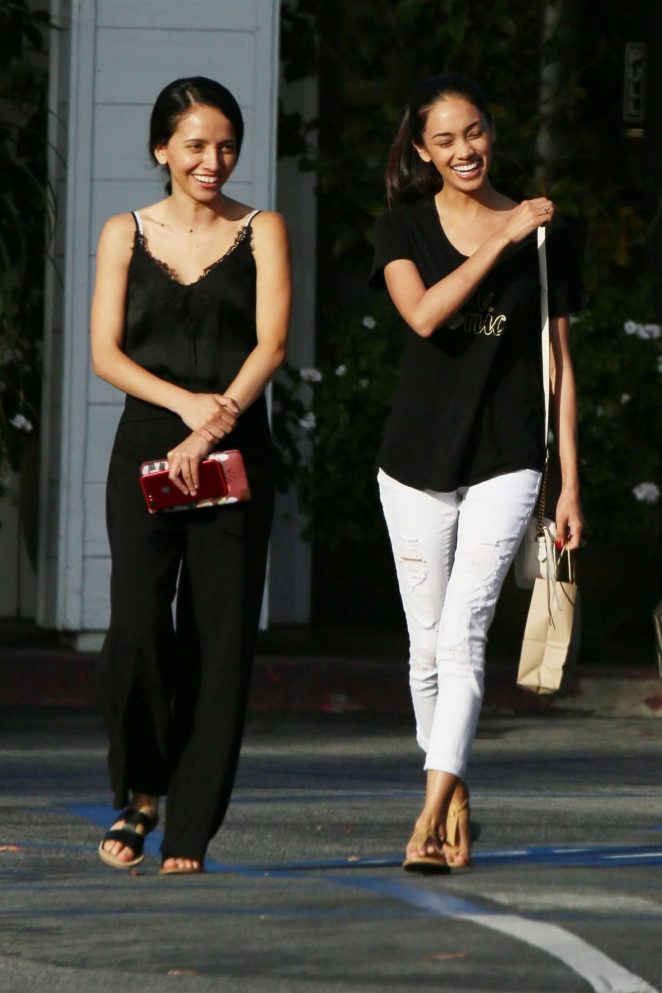 Bryiana Noelle and a friend shopping in Beverly Hills