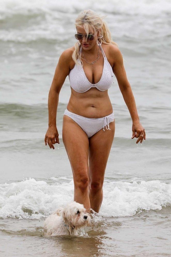 Brynne Edelsten in White Bikini at St Kilda Beach in Melbourne