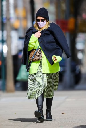 Busy Philipps - In a neon green cardigan seen while stroll in New York