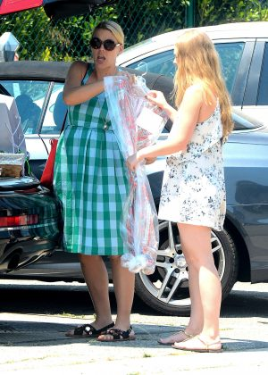 Busy Philipps in Blue Dress -03