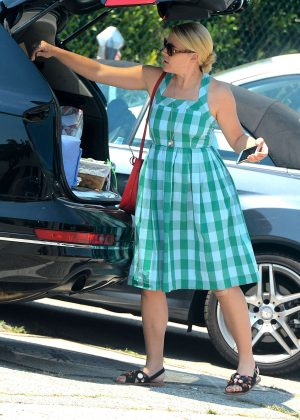 Busy Philipps in Blue Dress -18