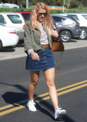 Busy Philipps in Jeans Mini Skirt out in Beverly Hills