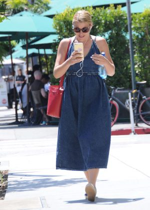 Busy Philipps in Long Jeans Dress out in Los Angeles
