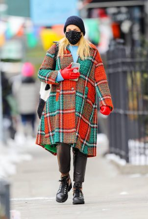 Busy Philipps - Wearing a La Double J Check multicolor in twisted wool coat in New York