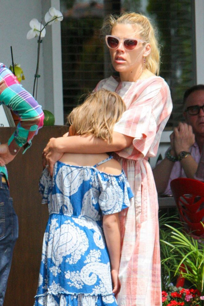 Busy Philipps wit her family at Mauro's Cafe in West Hollywood