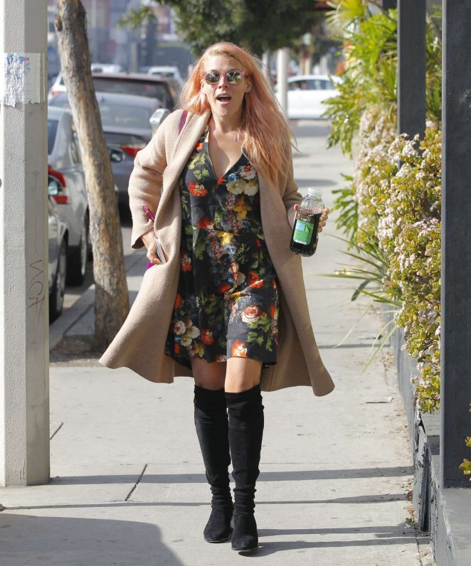 Busy Phillips in Floral Mini Dress out in West Hollywood