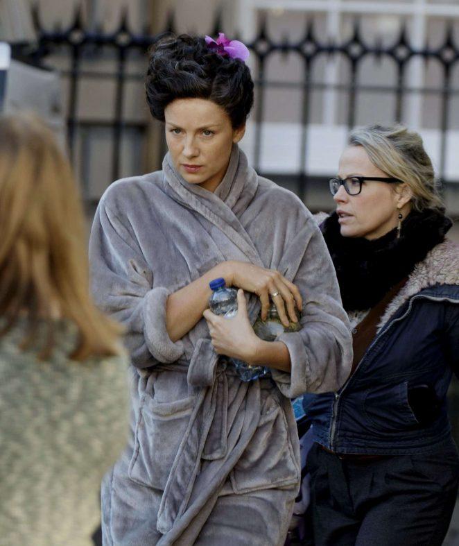 Caitriona Balfe on the set of 'Outlander' in Edinburgh