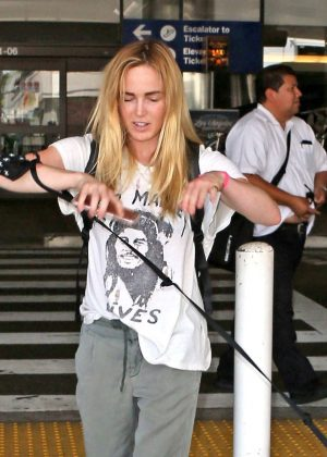 Caity Lotz at LAX Airport in Los Angeles