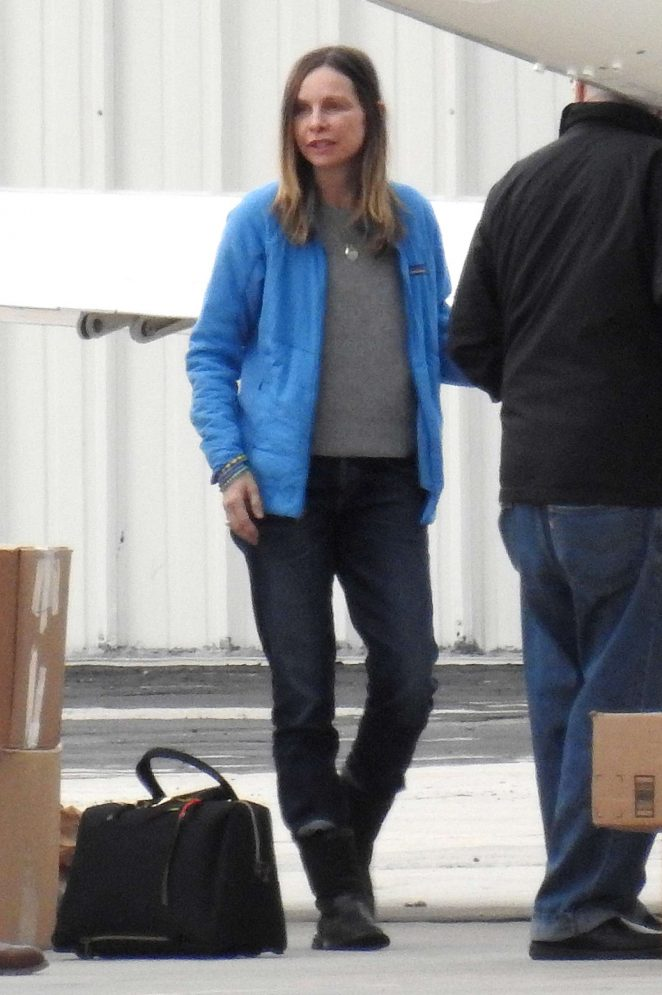 Calista Flockhart at the airport in Los Angeles