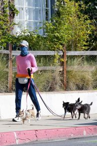 Calista Flockhart - Morning walk with her dogs