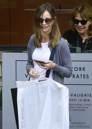 Calista Flockhart shopping at Barneys New York in LA