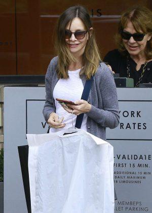 Calista Flockhart shopping at Barneys New York in LA