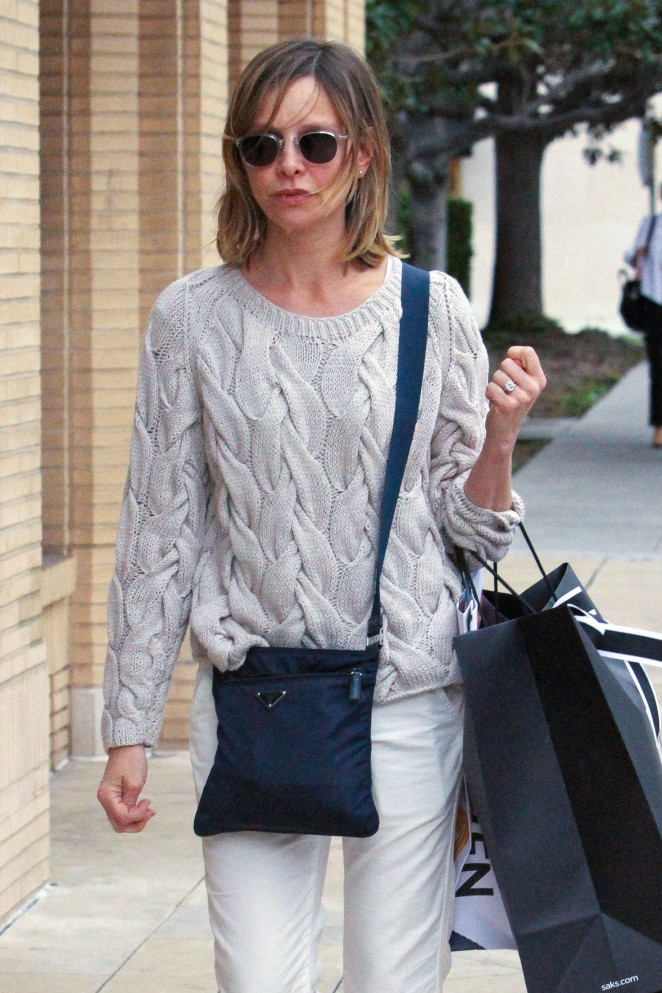 Calista Flockhart - Shopping at Saks Fifth Avenue in Beverly Hills