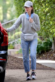 Calista Flockhart - Walking Her Dogs with an Acquaintance in Los Angeles