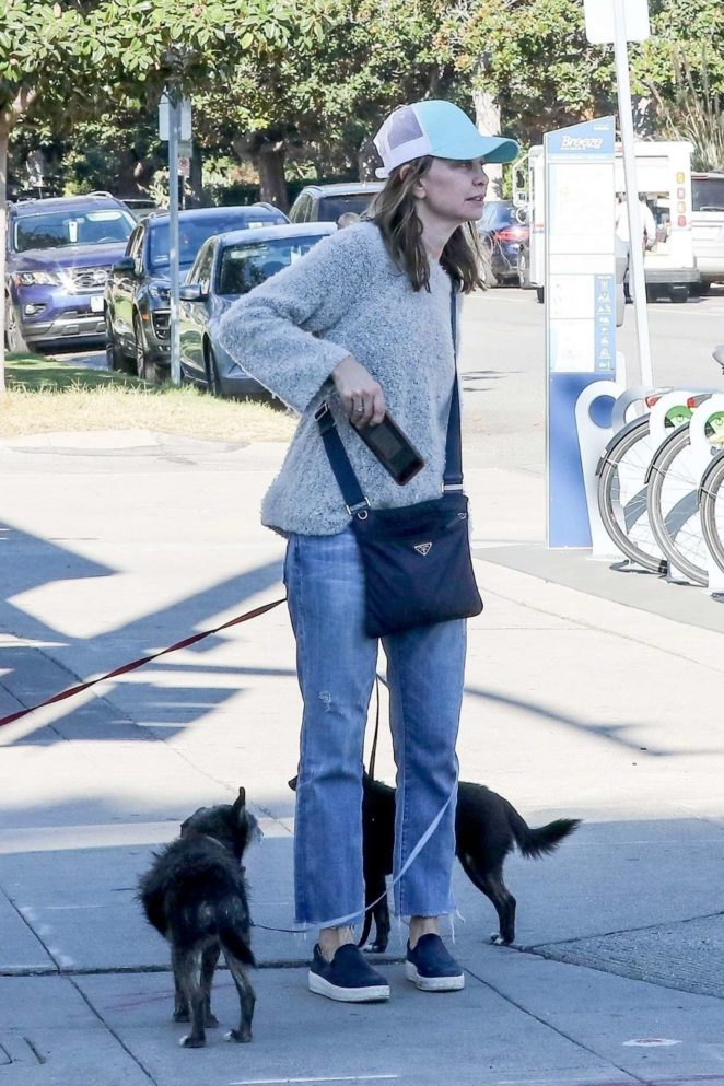 Calista Flockhart with her dogs off at a pet boutique in Brentwood