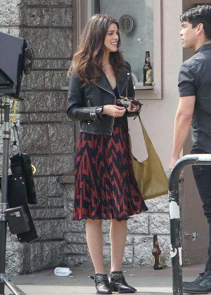 Callie Hernandez - Filming 'Mixtape' in Los Angeles