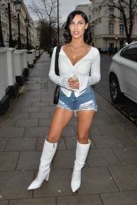 Cally Jane Beech in Denim Shorts - Arriving at the Hangout Event in London