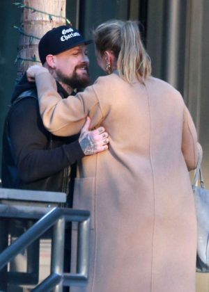 Cameron Diaz and husband Benji Madden at an office building in Century City
