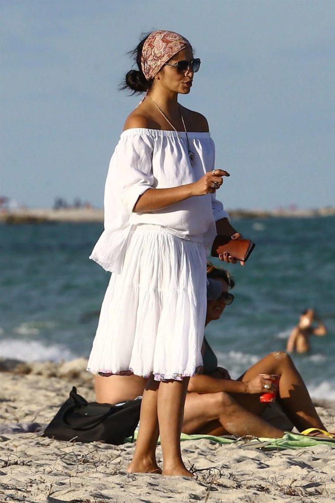 Camila Alves at a beach in Miami
