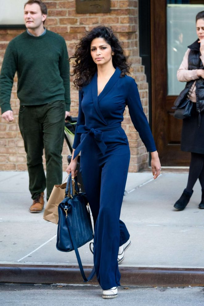 Camila Alves in Blue outfit out in New York