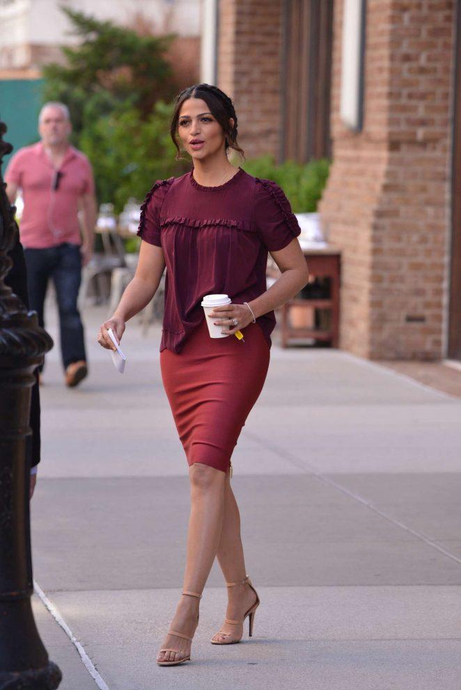 Camila Alves in Red Leaves her hotel in New York