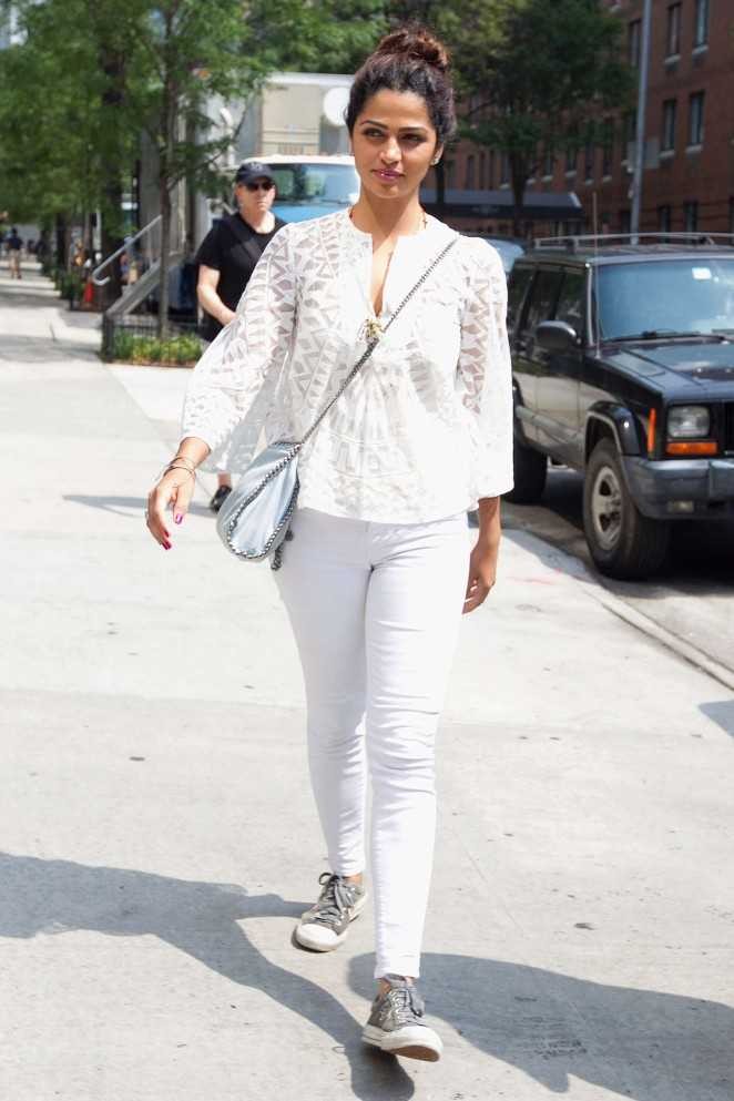 Camila Alves in White Jeans Out in NYC