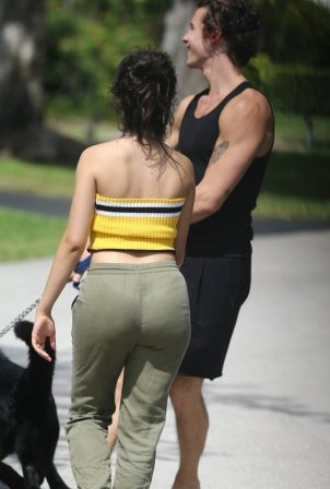 Camila Cabello and Shawn Mendes - Walking her dog Thunder in Miami