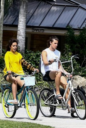 Camila Cabello - Bike ride with her boyfriend Shawn Mendes in Miami