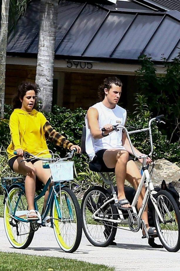 Camila Cabello - Bike ride with her boyfriend Shawn Mendes in Miami