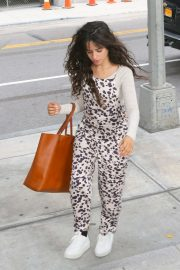 Camila Cabello in Animal Print Jumpsuit - Out in New York