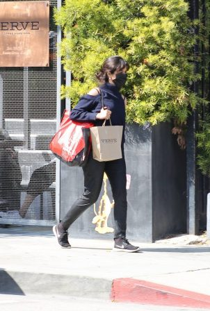 Camila Cabello - In black leather pants seen leaving Verve Cafe in West Hollywood