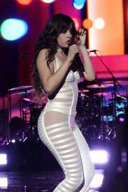 Camila Cabello in White Cutout Catsuit - Performs for Verizon Up at The Fillmore Miami Beach