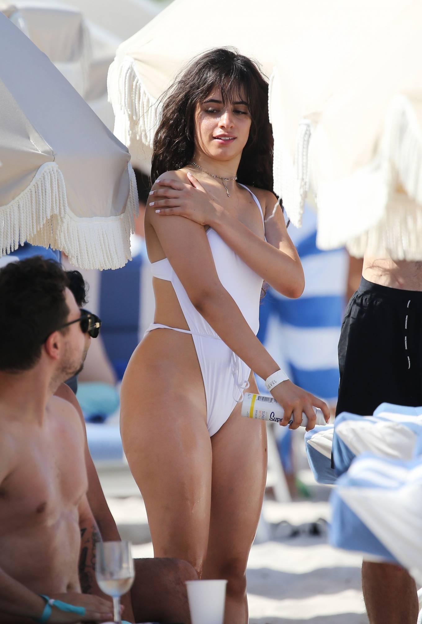 Camila Cabello 2020 : Camila Cabello – Wearing in white bikini hits the beach in Miami-08