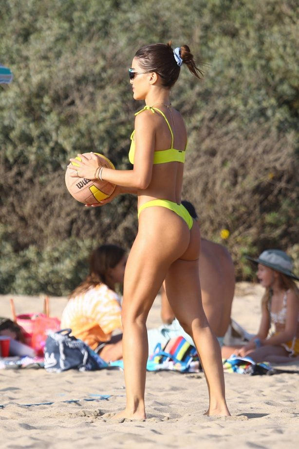Camila Coelho with Alessandra Ambrosio - In a yellow bikini at a beach